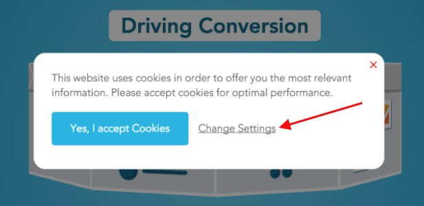 Blueconic cookies notification message with Change Settings link