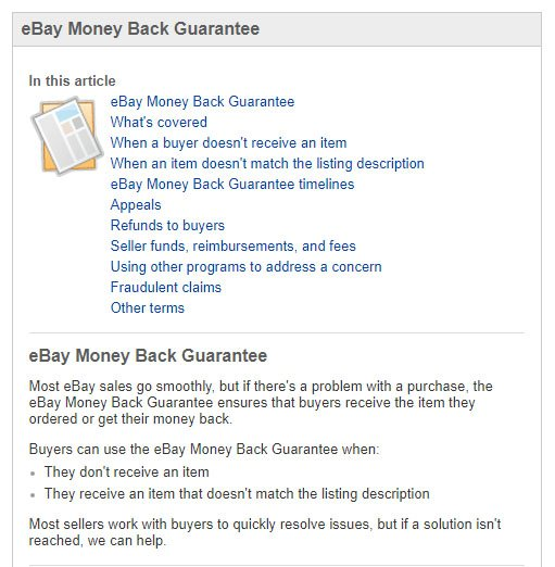 eBay Money Back Guarantee menu