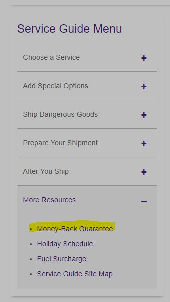 FedEx Service Guide menu with Money Back Guarantee link highlighted