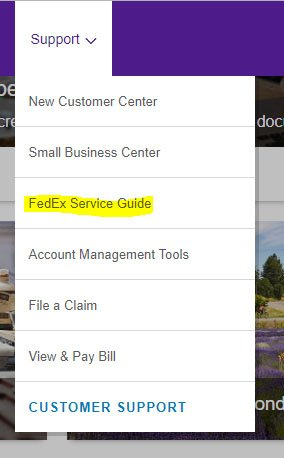 FedEx Support tab with Service Guide link highlighted