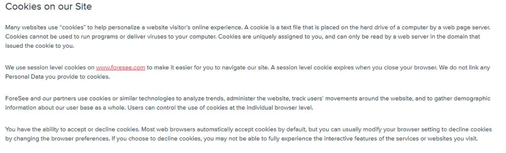 Foresee Privacy Policy: Cookies on our Site clause
