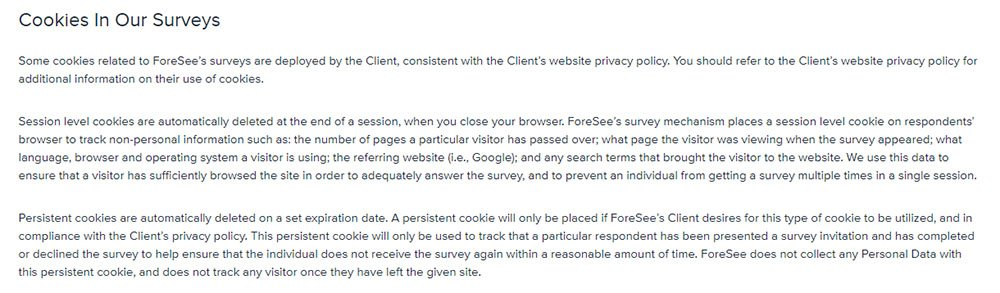 Foresee Privacy Policy: Cookies in Our Surveys clause