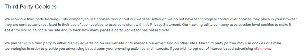 Foresee Privacy Policy: Third Party Cookies clause