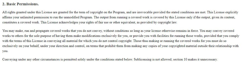 GNU General Public License: Basic Permissions clause