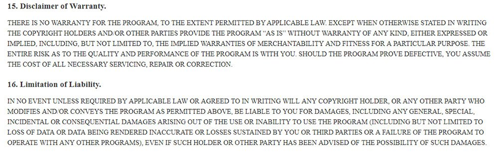GNU General Public License: Disclaimer of Warranty and Limitation of Liability clauses