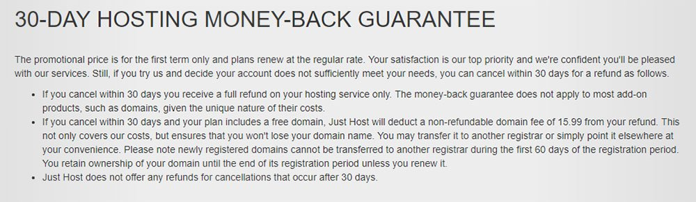 Just Host 30-Day Hosting Money Back Guarantee
