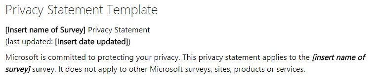 Microsoft Survey Toolkit: Privacy Statement Template