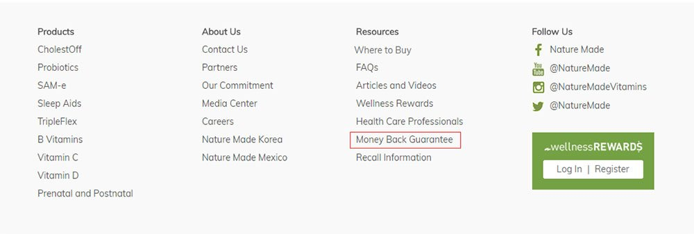 Nature Made website footer with Money Back Guarantee link highlighted