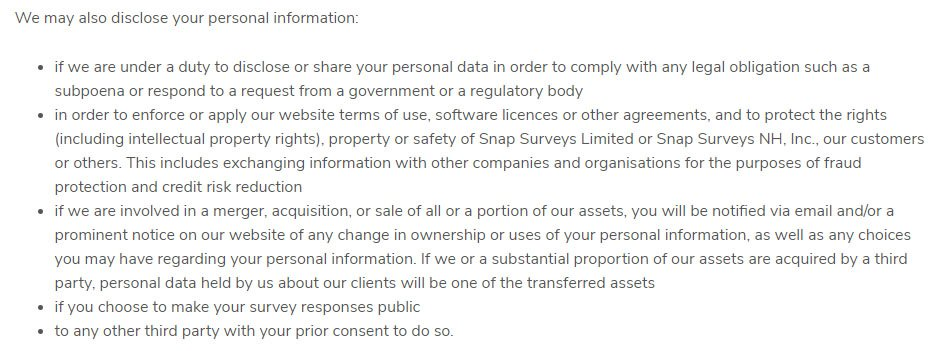 Snap Survey Privacy Policy: When personal information may be disclosed clause