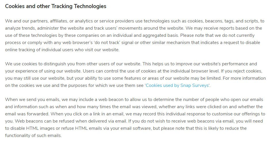 Snap Surveys Privacy Policy: Cookies and other Tracking Technologies clause