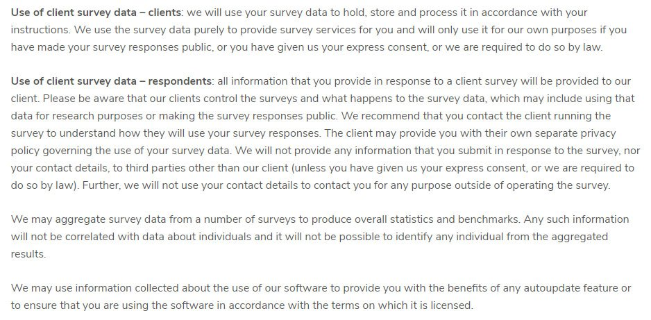 Snap Surveys Privacy Policy: clause about Use of survey data for clients and respondents