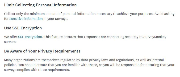 SurveyMonkey's Data Collection and Privacy Best Practices: Privacy Protections