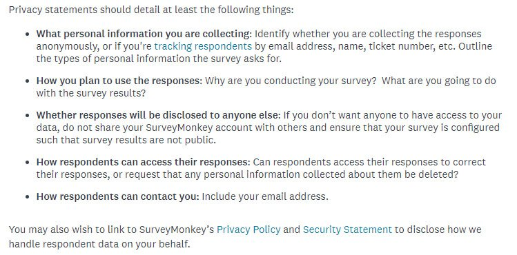 SurveyMonkey's Data Collection and Privacy Best Practices: Privacy Statements