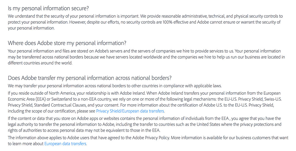 Adobe Privacy Policy: Clauses for storing, securing and transferring personal information
