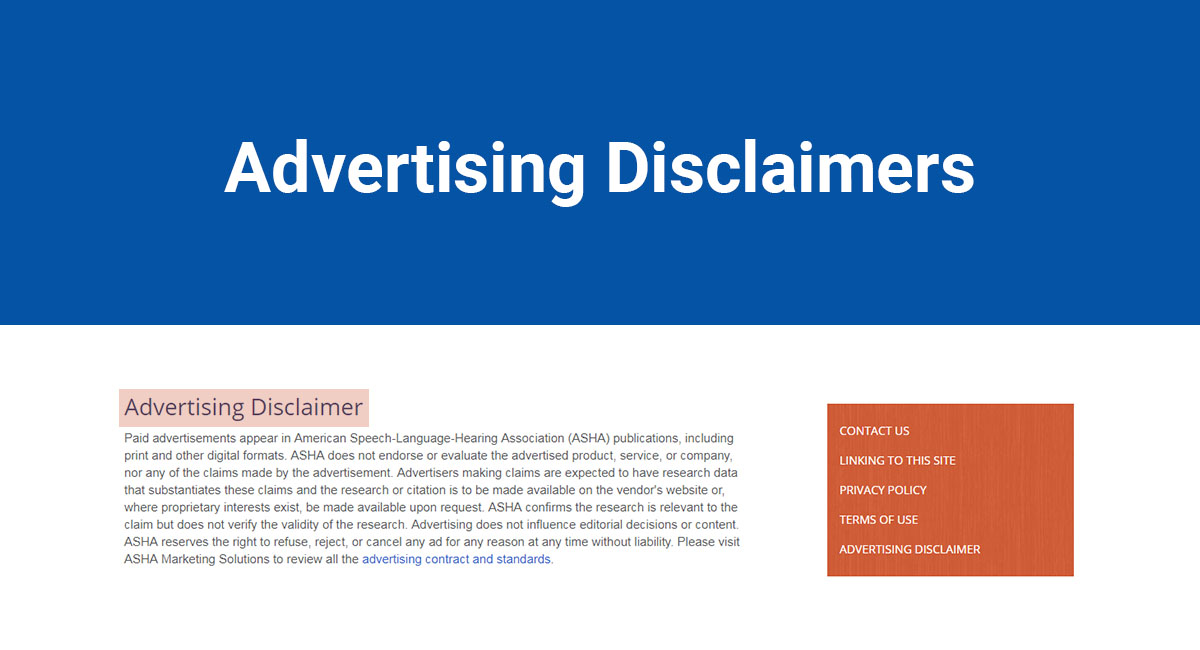 Disclaimer: Advertising Disclaimers