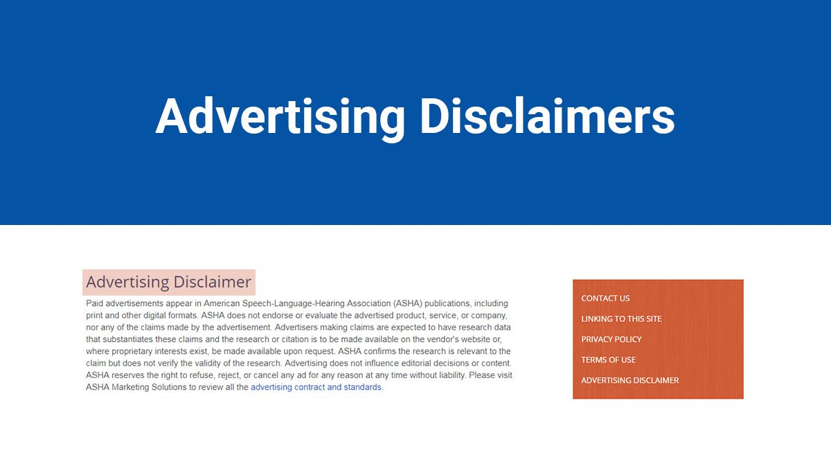 Advertising Disclaimers