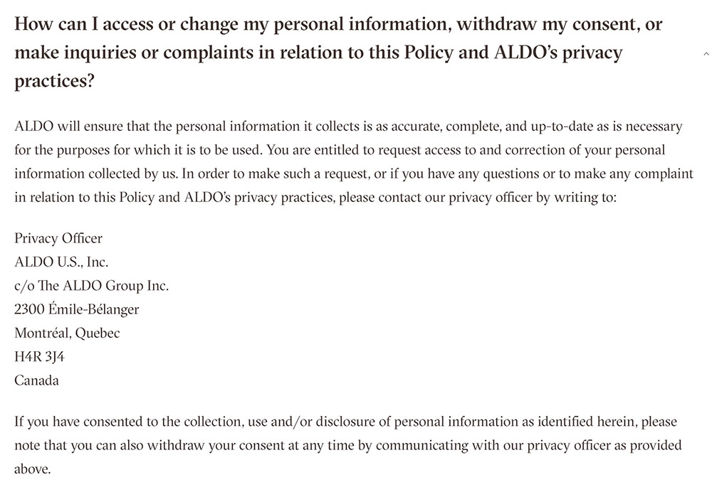 Aldo Privacy Policy clause for how to access or change personal information or withdraw consent