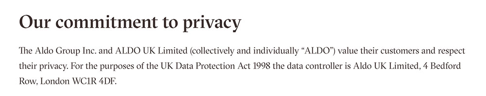 Aldo Privacy Policy: Company identification and physical location in clause