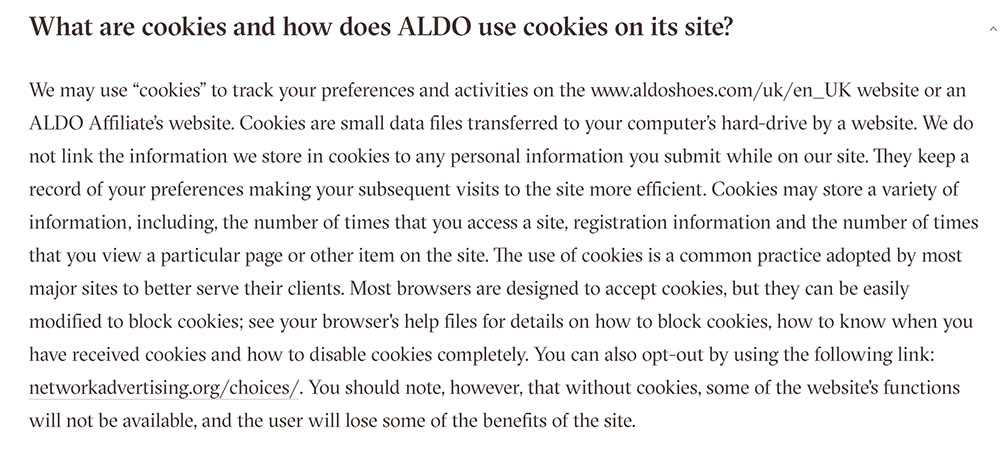 Aldo Privacy Policy: What are cookies and how ALDO use cookies on site clause