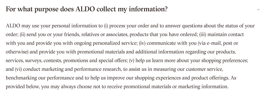 Aldo Privacy Policy clauses about what information is collected and how it's used
