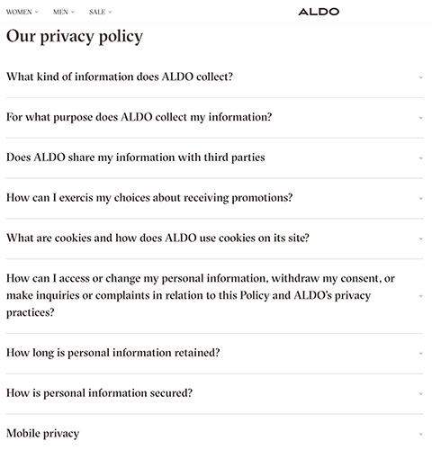 ALDO Privacy Policy main menu