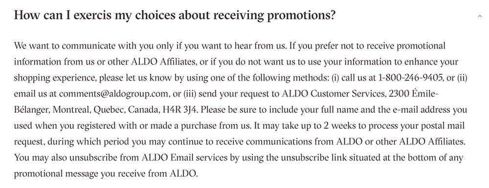 Aldo Privacy Policy: Opting out of Communications clause