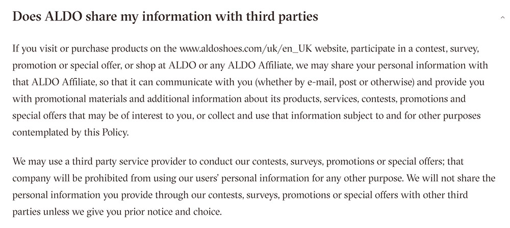 Aldo Privacy Policy: Sharing information with third parties clause