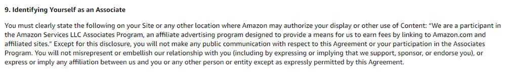 Amazon Associates Operating Agreement Section 9: Identify Yourself as an Associate