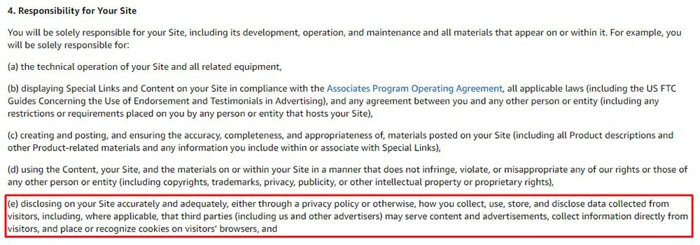 Amazon Associates Program Participation Requirements: Responsibility for Your Site clause