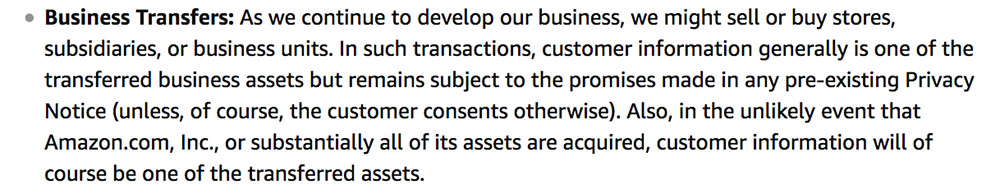 Amazon Privacy Policy: Business Transfers clause