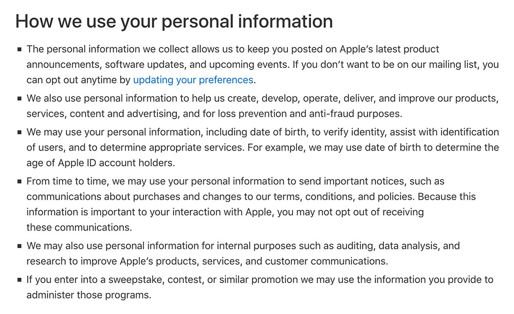 Apple Privacy Policy: How we use your personal information clause