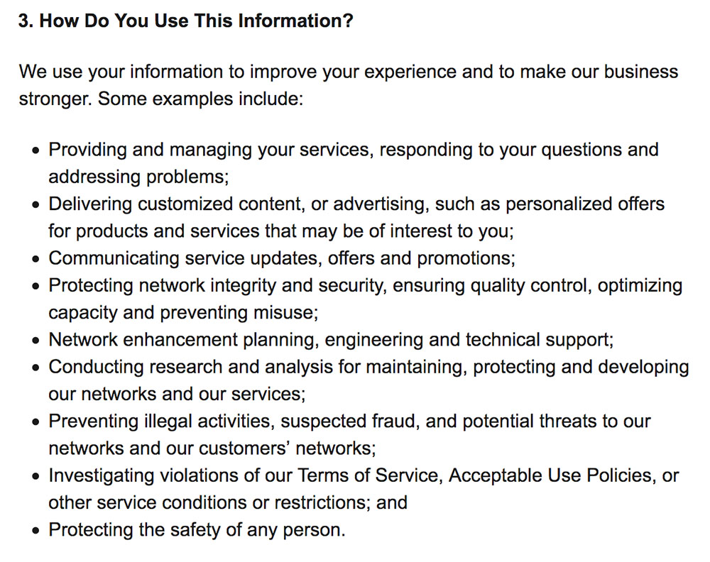 AT and T Privacy Policy: How we use information clause