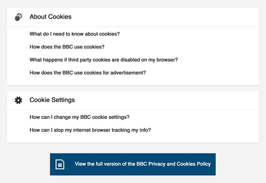 BBC: About Cookies and Cookie Settings menus