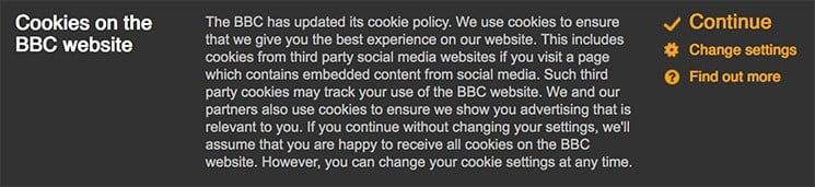 BBC Cookies Notification