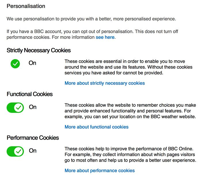 BBC cookies personalisation settings page