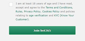 Bet365 sign-up page with clickwrap