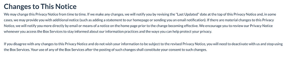 Box Inc. Privacy Policy: Change to This Notice clause