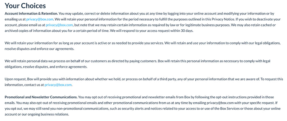 Box Inc. Privacy Policy: Your Choices clause