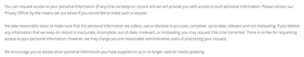 Brien Holden Institute Privacy Policy: Clause about requesting access to your personal information
