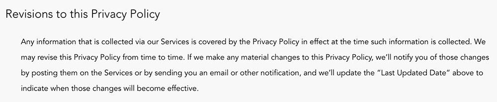 Calm Privacy Policy: Revisions to this Privacy Policy clause
