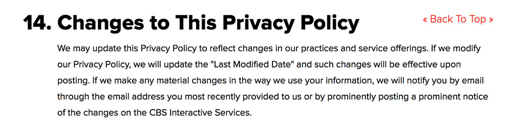 CBS Privacy Policy: Changes to This Privacy Policy clause