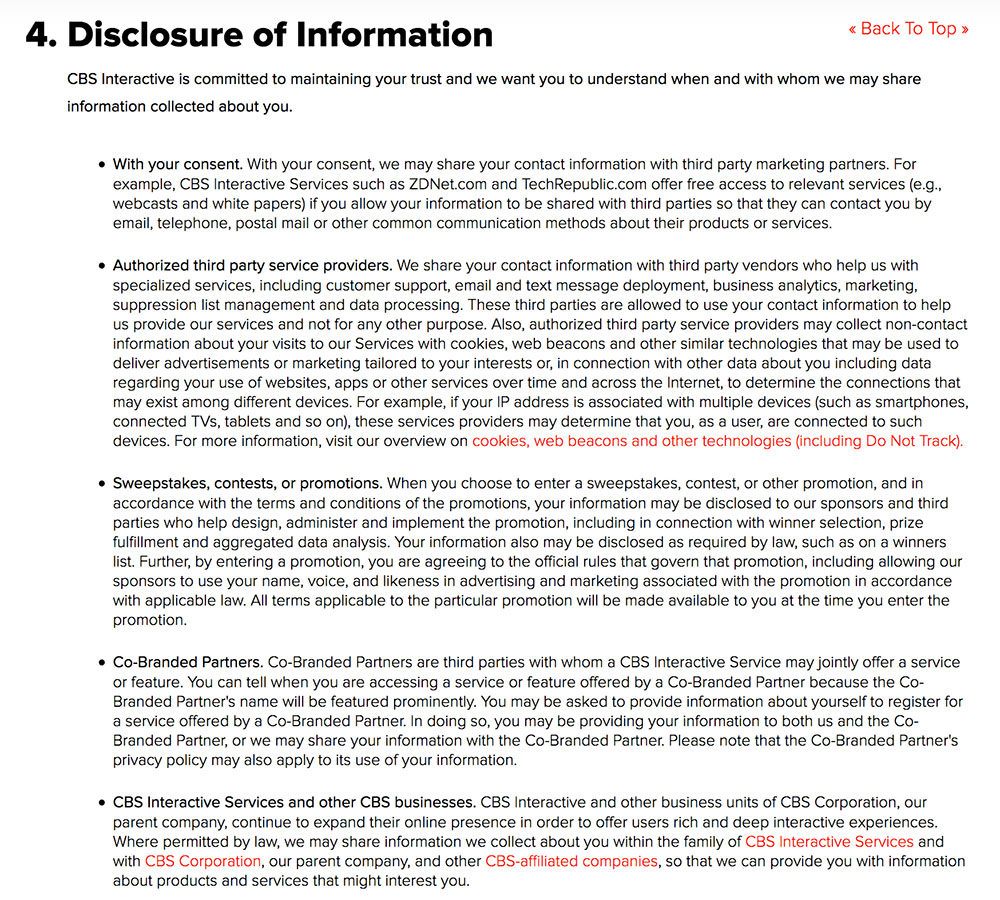 CBS Privacy Policy: Disclosure of Information clause