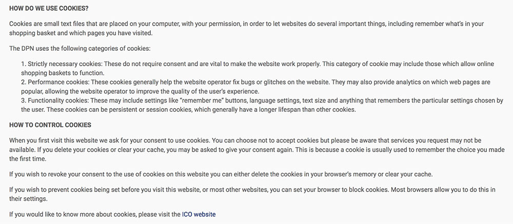 DPN Privacy Policy: How We Use Cookies and How to Control Cookies clauses