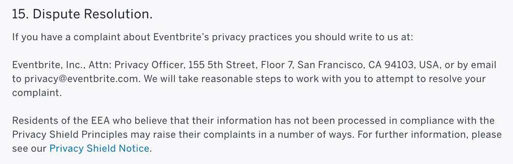 Eventbrite Privacy Policy: Dispute Resolution clause