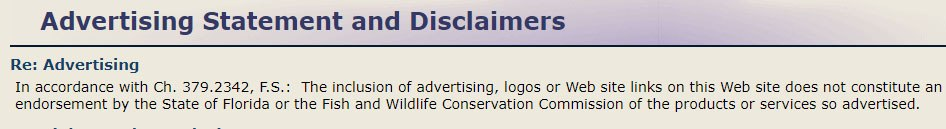 Florida Fish and Wildlife Conservation: Advertising Statement and Disclaimers