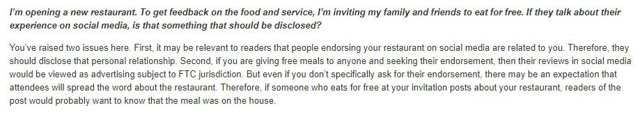 """FTC Endorsement Guides: What People are Asking"" section addressing disclosing reviews of free food from restaurants"