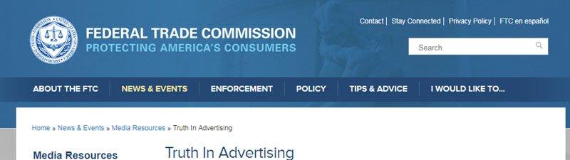 Screenshot of the FTC