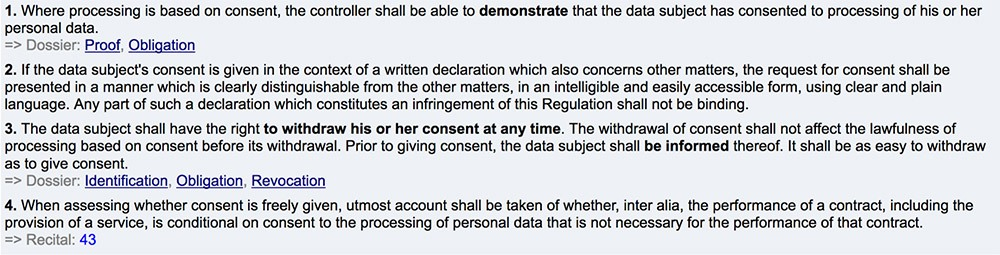 GDPR Article 7: Consent clauses 1 through 4