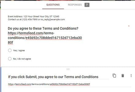 How to add a Terms and Conditions clickwrap at the end of a Google Form