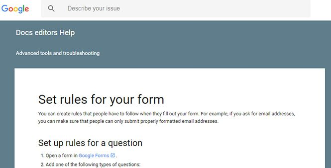 Rules setup for Google Forms